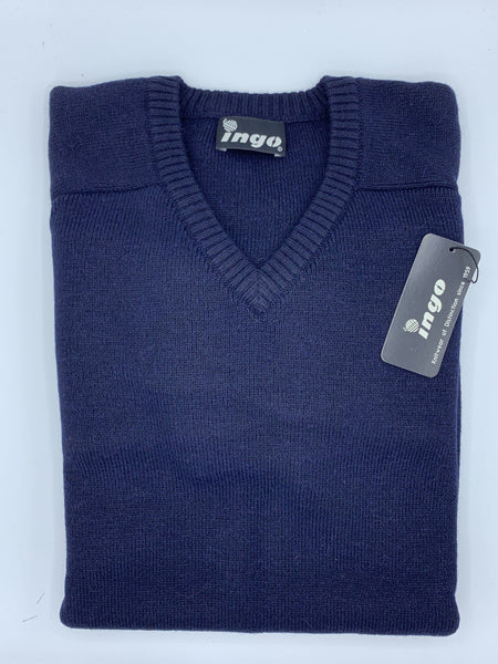 Ingo V-Neck Alpaca Sweater Navy - Cuno