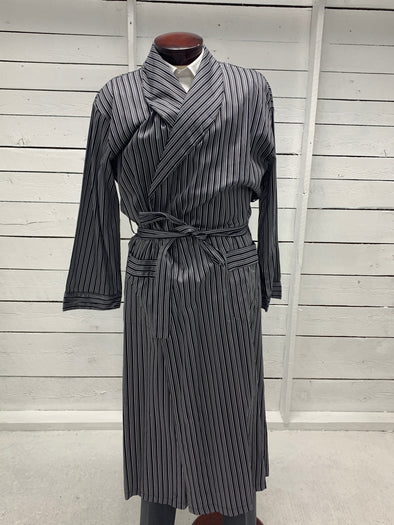 Luxury Cotton Shawl Collar Broad Cloth Robe Navy and White Stripe