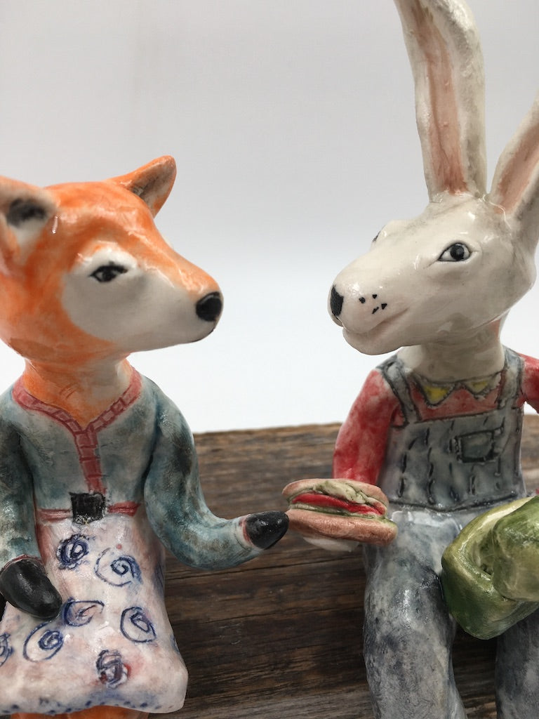 'Lunch Break' two figure sculpture - Ms. Fox and Mr. Hare