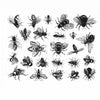 Vintage Bees Black (Decal-045)
