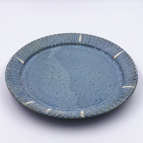 Serving Plate Blue with Fluted Rim