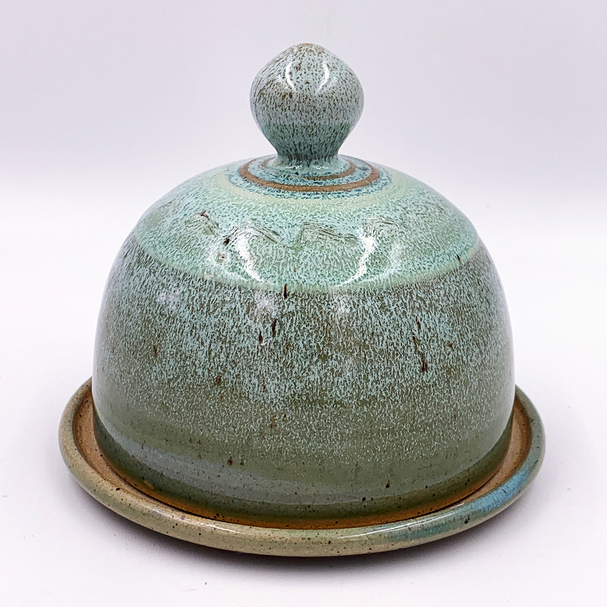 Silt over Moss Domed Butter Dish