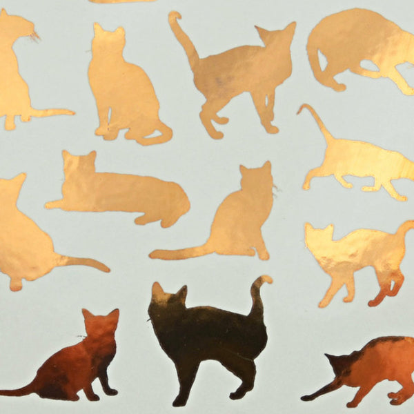 Cat Silhouette Gold Lustre (Decal-053)