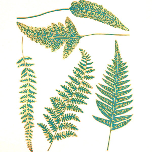 Ferns Turquoise and Gold (Decal-066)