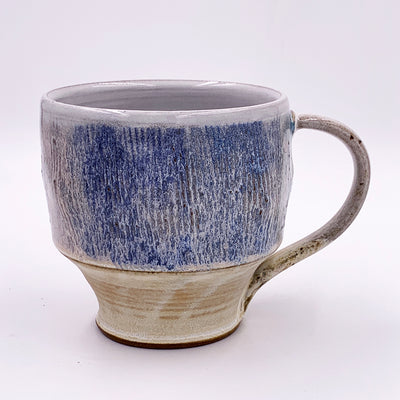 One of a kind, 18 oz Mug, Carved Frosty Blue with Narrow Base