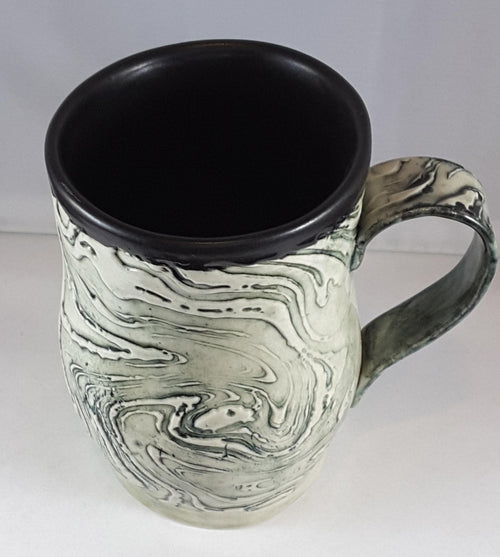 B&W Mug with Wavy Pattern