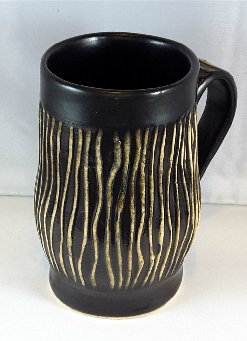 Black mug with Cream Stripes