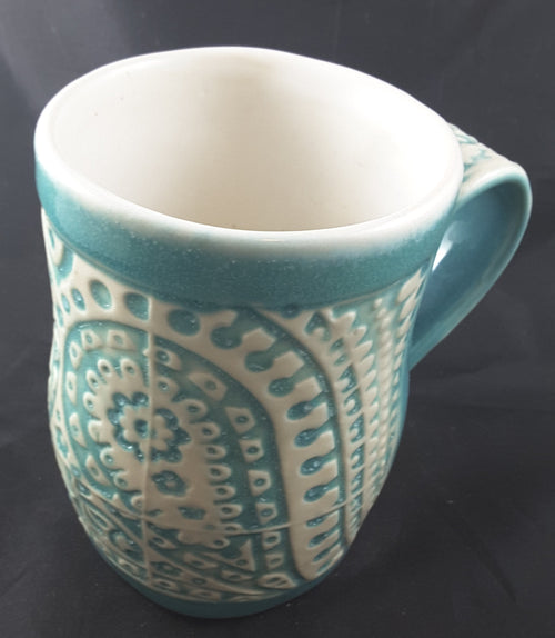 Mug Turquoise with White Lace