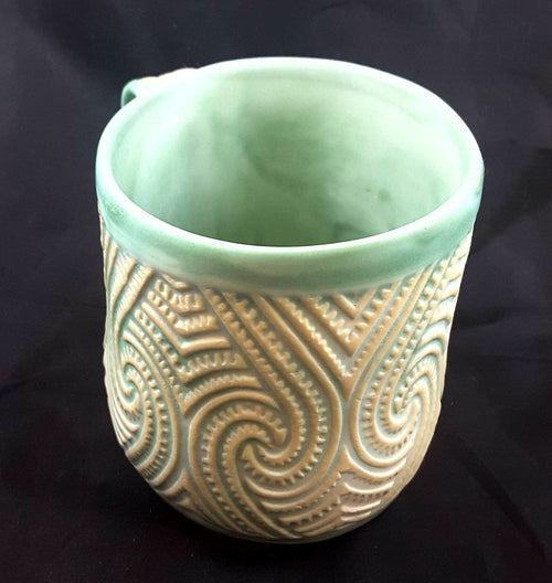 Mug with Swirls and Mint Green Contrast