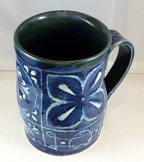 Royal Blue mug with Raised White Texture