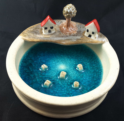 Soap Dish with Fish and Houses