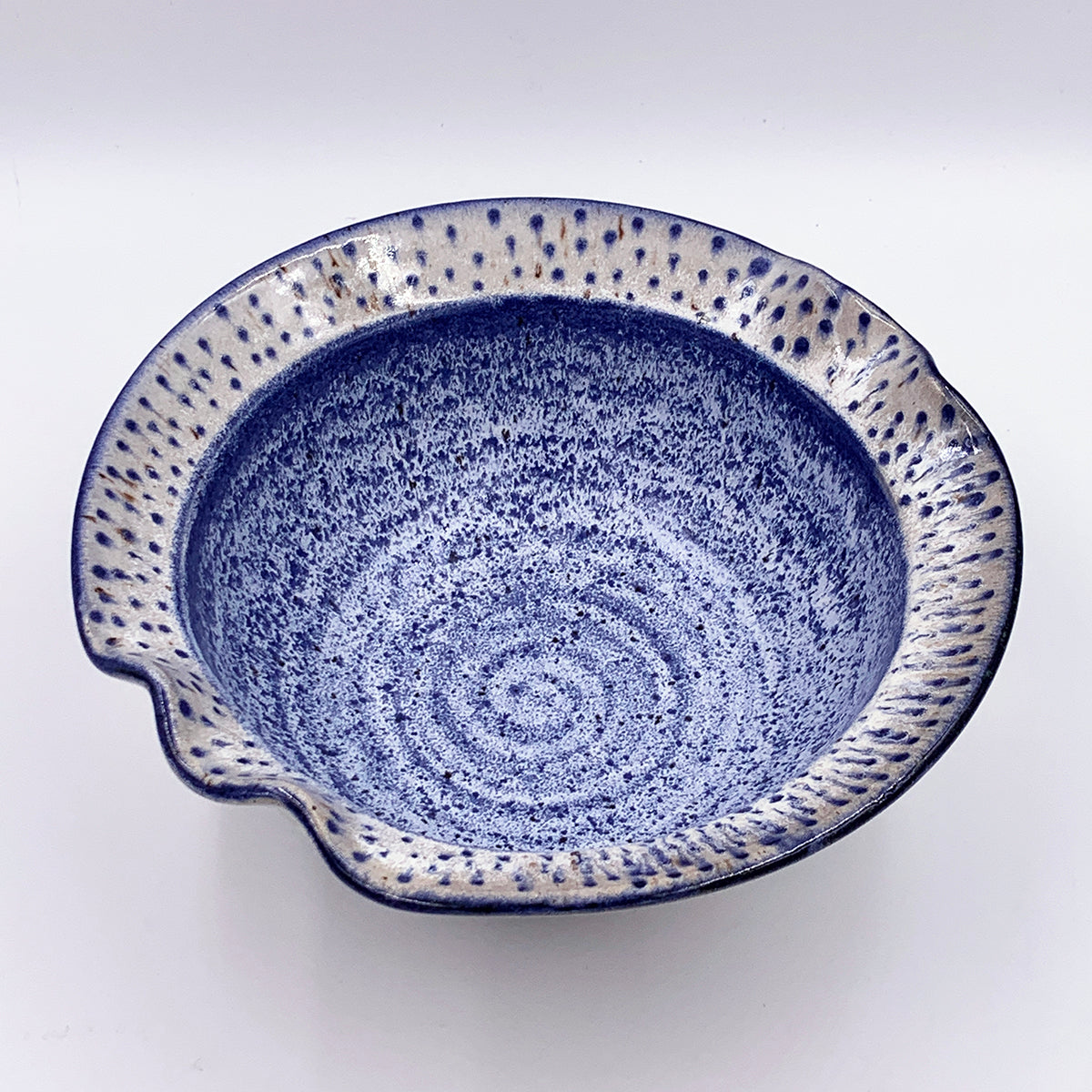 Frosty Blue with Dotted Ruffle Rim Medium Bowl