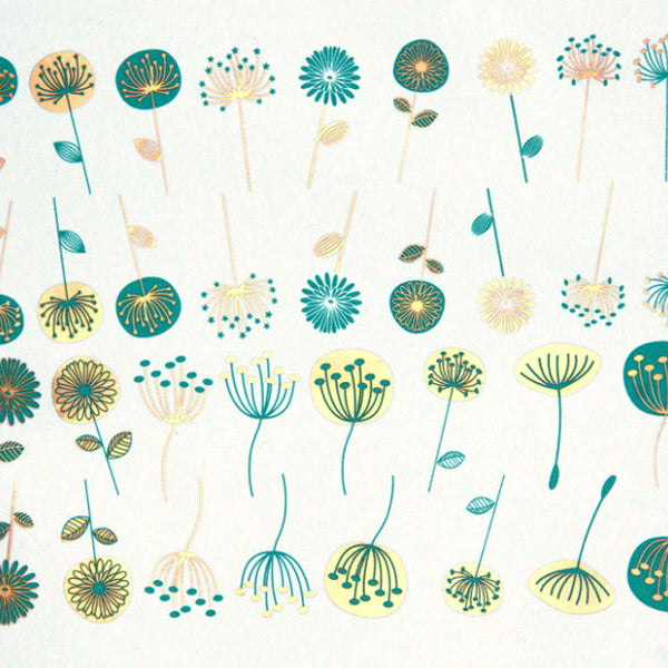 Modern Flowers Turquoise and Gold (Decal-023)