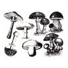 Vintage Mushrooms Black (Decal-057)