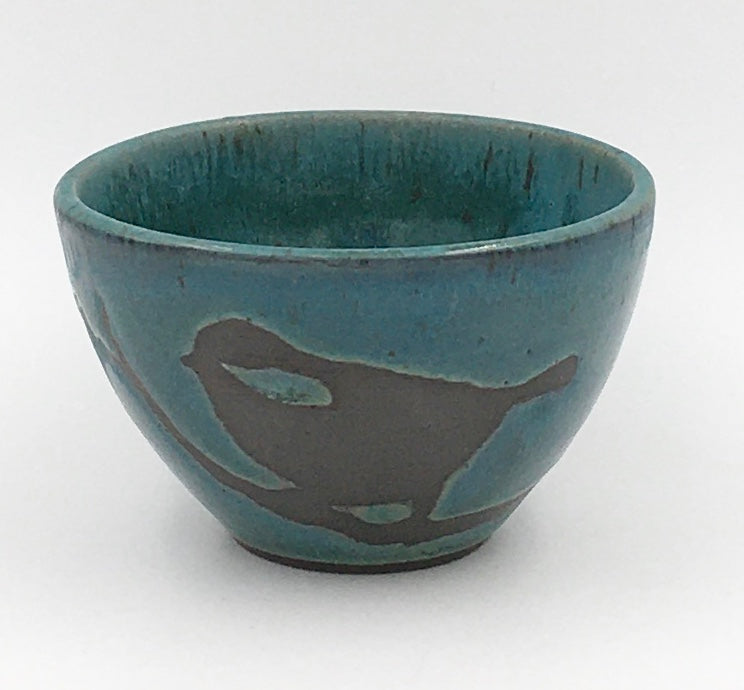Decorative Small Bowl: Black slip bird design; Turquoise, KRYPTONITE