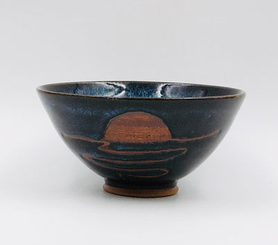 Small Bowl - Iron Oxide Sunset Design; Obsidian, Kryptonite