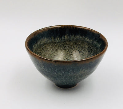 Small Bowl - Tapered foot; Obsidian, Lichen