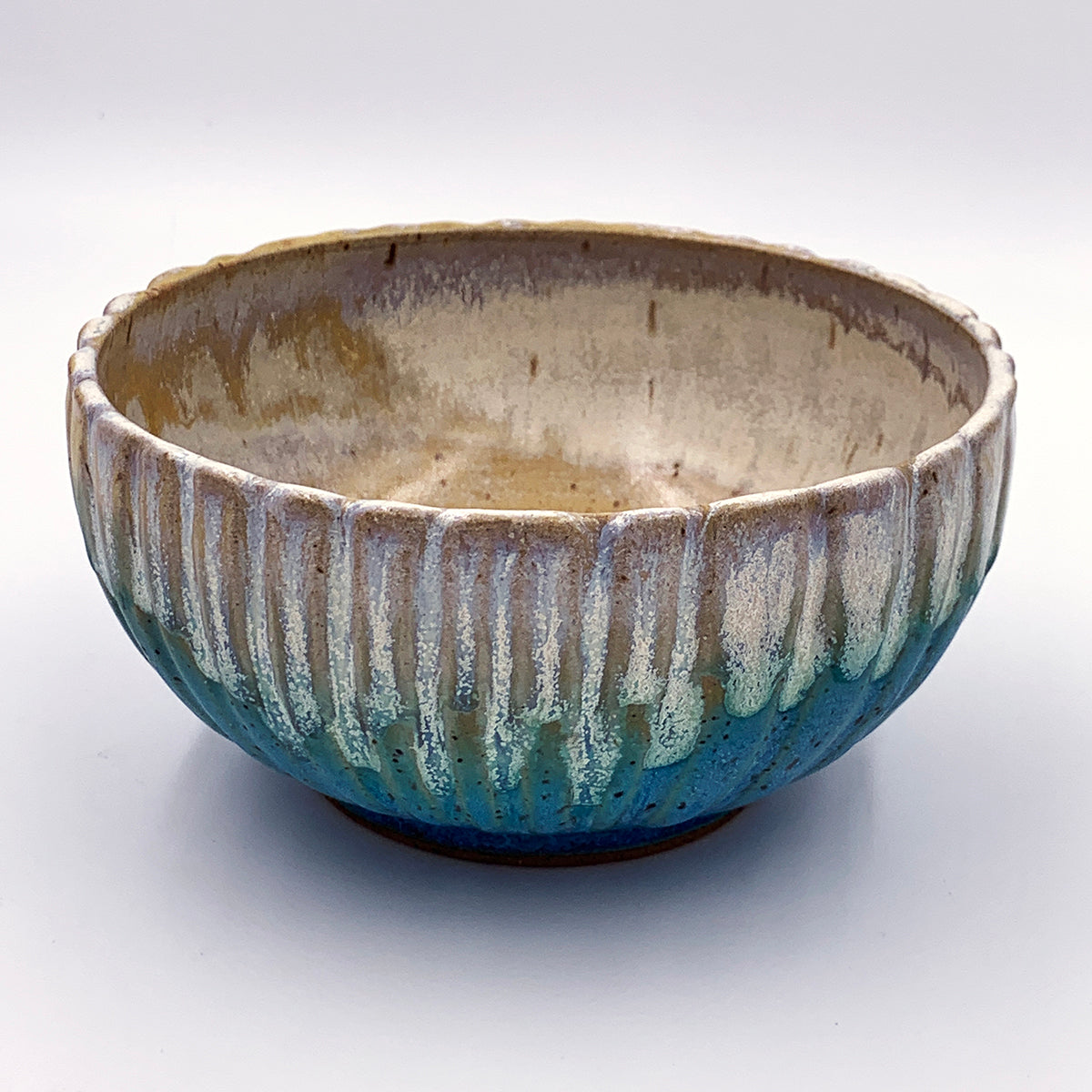 Small Fluted Turquoise and Quartz Bowl