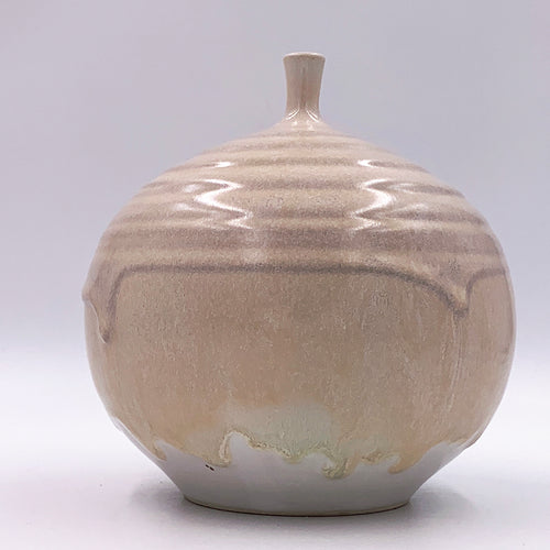 One of a kind Bud Vase, Drippy Quartz Glaze