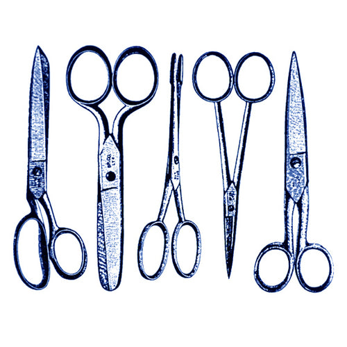 Vintage Scissors Blue (Decal-002)
