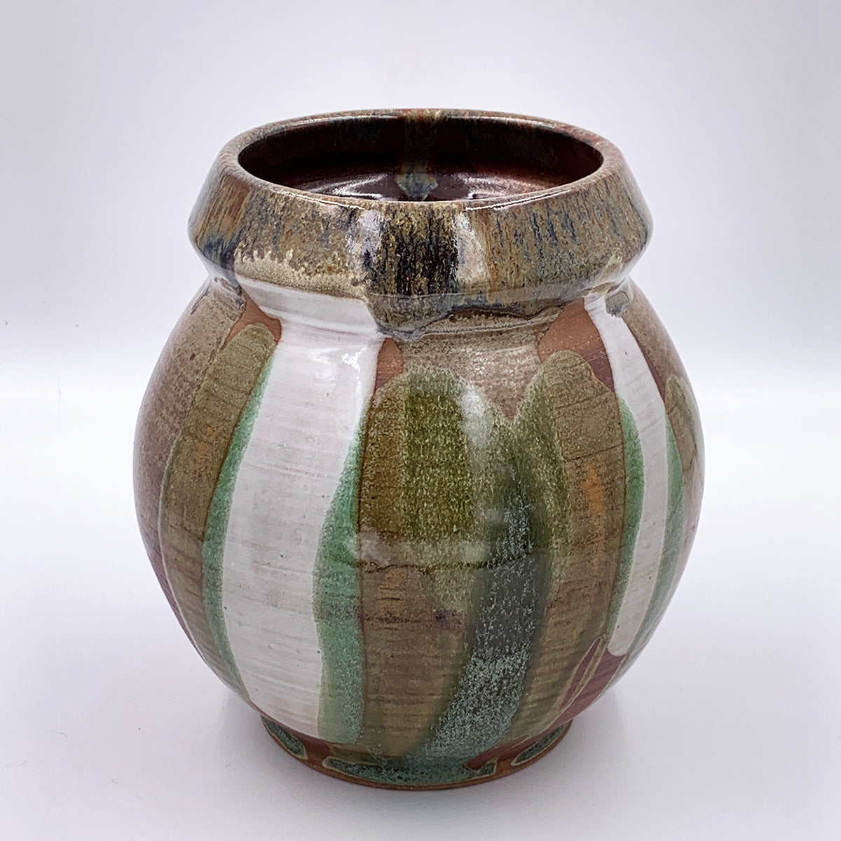 One of a kind, Vase Multi Coloured Poured Glaze