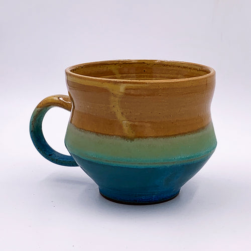 One of a kind, 18 oz Mug, Turquoise & Yellow