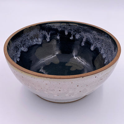 Medium Bowl White Outside with Dark Green Leaves Inside