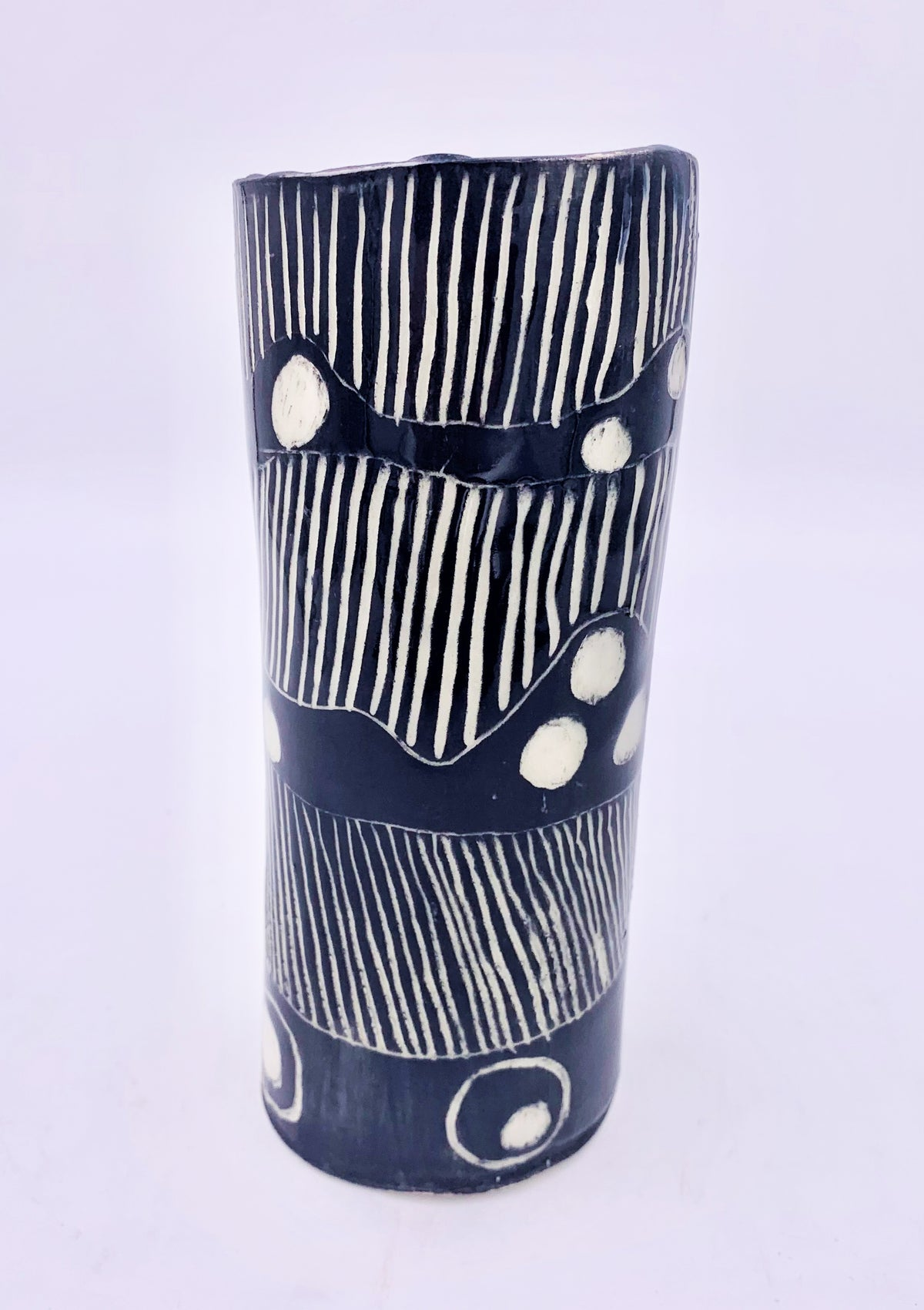 Blue Sgraffito Vase