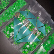 Neon Green Multi-Sized Flatback Glass Rhinestones