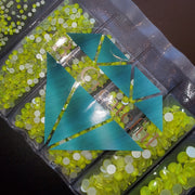 Multi-Size Neon Yellow Flatback Glass Rhinestones
