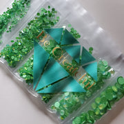 Multi-Size Luminous Green Flatback Glass Rhinestones