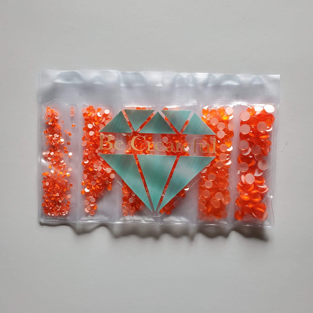 Multi-Size Neon Orange Flatback Glass Rhinestones