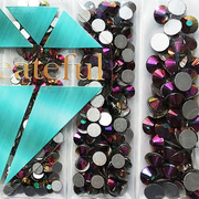 Multi-Size Rainbow Gold Flatback Glass Rhinestones