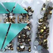 Multi-Size Aurum Gold Flatback Glass Rhinestones