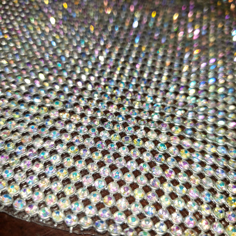 Crystal AB Set In Silver Hotfix Glass Rhinestone Mesh Strips - Be Createful, Beautiful Rhinestones at wholesale prices.