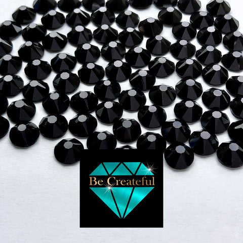 Flatback Foil Jet Black Glass Rhinestones - Be Createful, Beautiful Rhinestones at wholesale prices.