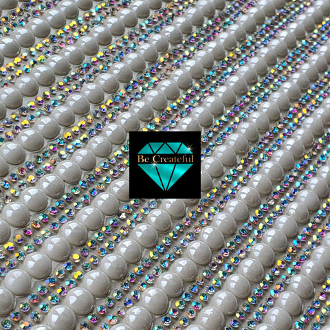 Hotfix Large Pearl and Double Row Crystal AB Rhinestone Sheets