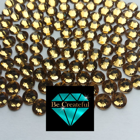 Flatback Foil Lt Topaz Gold Glass Rhinestones - Be Createful, Beautiful Rhinestones at wholesale prices.