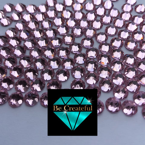 Flatback LUXE Pink Foil Glass Rhinestones