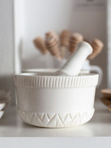 Carved marble mortar and pestle