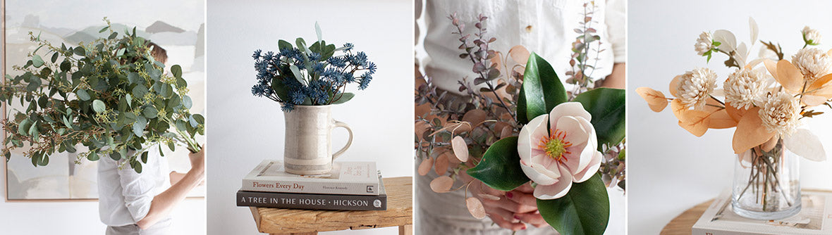 artificial flowers and foliage