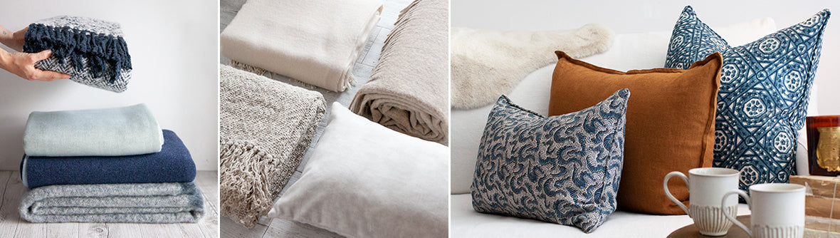 Selection of cushions and throws available at the Tara Dennis Store