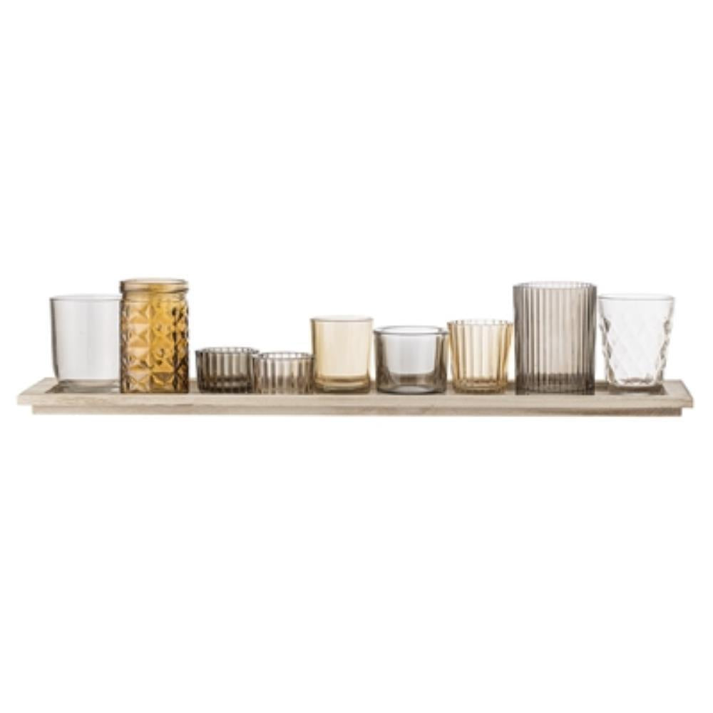Wooden Tray with Glass Votives