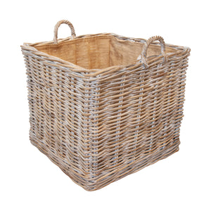 White Wash Indo Log Basket