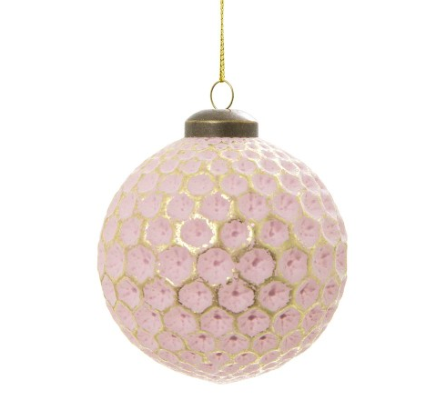 Dimpled Glass Bauble Pink