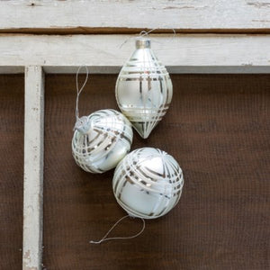 Frosted Plaid Ornament