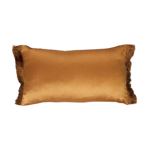 Rust Cushion Fringe Silk Linen