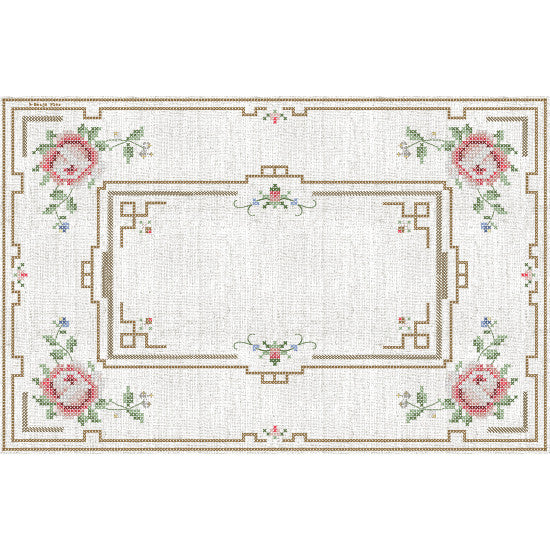 Red Rose Cross Stitch Placemat