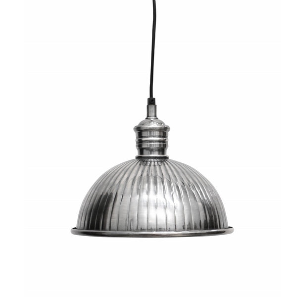 Ribbed Brushed Pewter Style Hanging Lamp