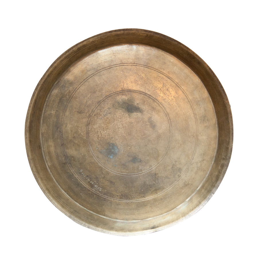 Round Found Decorative Brass Platter